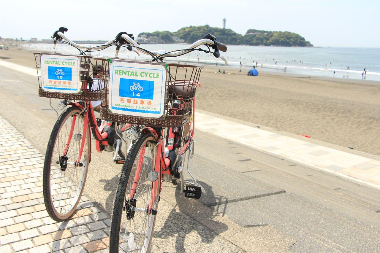 レンタサイクルと海